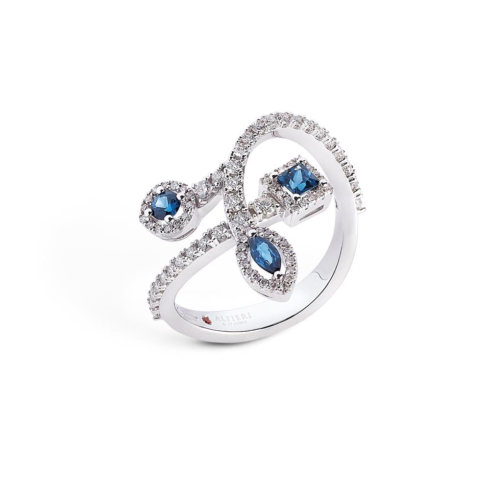 18 kt white gold ring with 0,43 ct navette round and carrè cut precoius stones and 0,56 ct diamonds