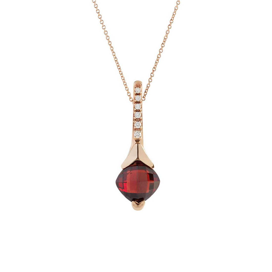 Rose gold pendant with 5.65 ct square briolette cut garnet and 0.10 ct diamonds 