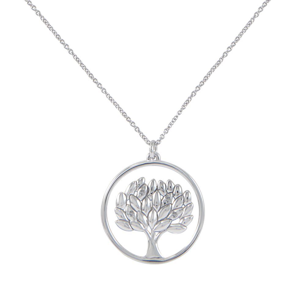 18 kt white gold life tree pendant with 0.04 ct diamonds