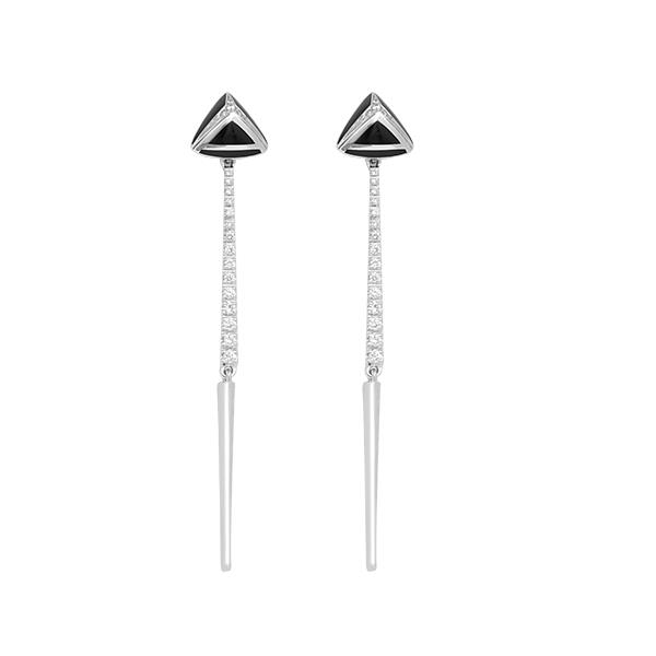 "White gold ""A"" earrings with black enamel and ct 0,41 diamonds