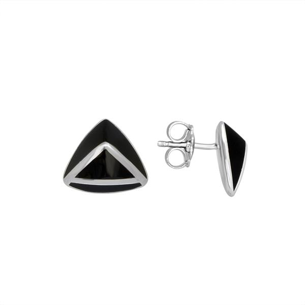 "Sterling silver ""A"" earrings with black enamel"