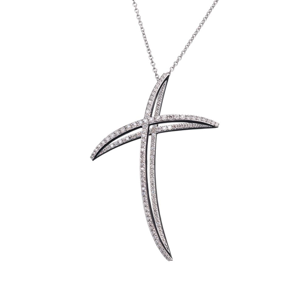 Cross necklace in 18 kt white gold with 2,22 ct diamonds and black enamel on the edges - Limited Edition - Chain length: 90 cm - Pendant height: 7,3 cm