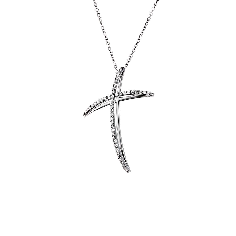 Small cross pendant in 18 kt white gold with 0,31 ct diamonds - Chain length: 48 cm - Pendant height: 3,8 cm