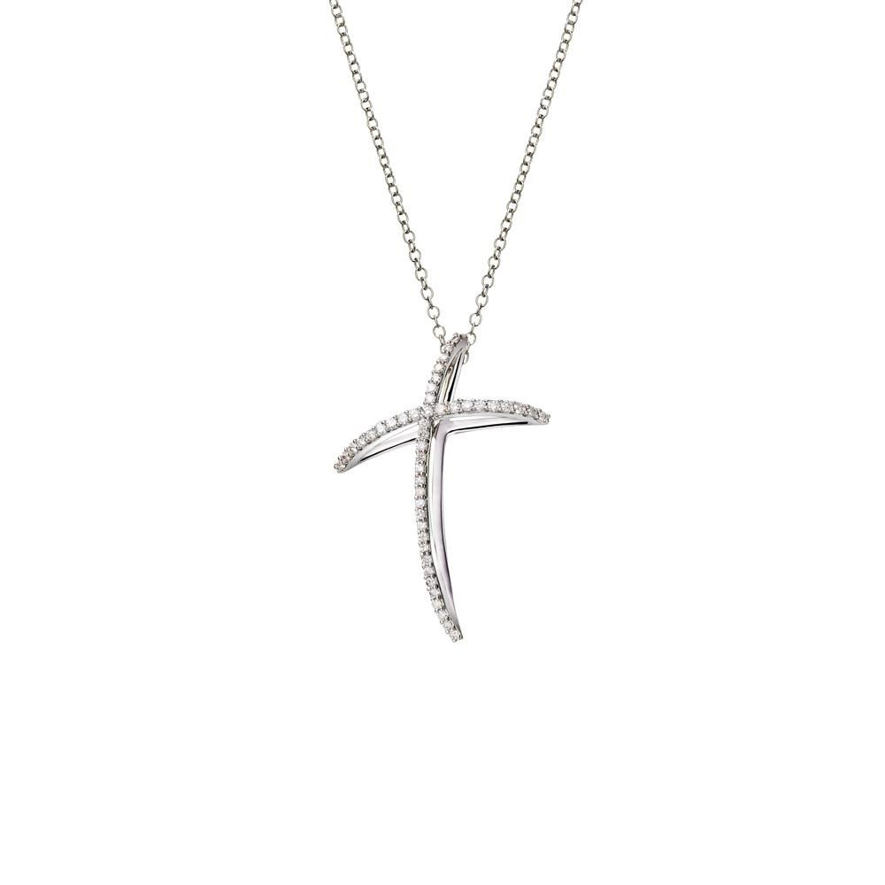 Mini size cross pendant in 18 kt white gold with 0,18 ct diamonds - Chain length: 42 cm - Pendant height: 2,5 cm