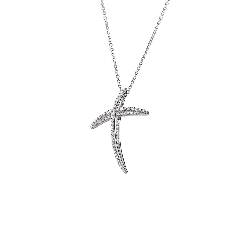 Mini size full stone cross pendant in 18 kt white gold with 0,29 ct diamonds - Chain length: 42 cm - Pendant height: 2,5 cm