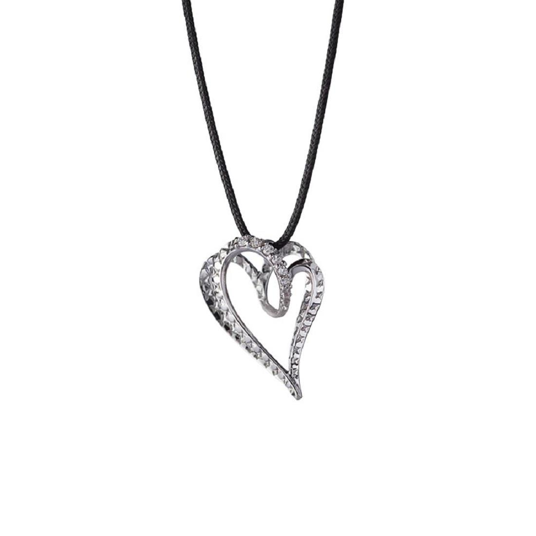 Small heart pendant in18 kt white gold with 0,04 ct diamonds with black string 