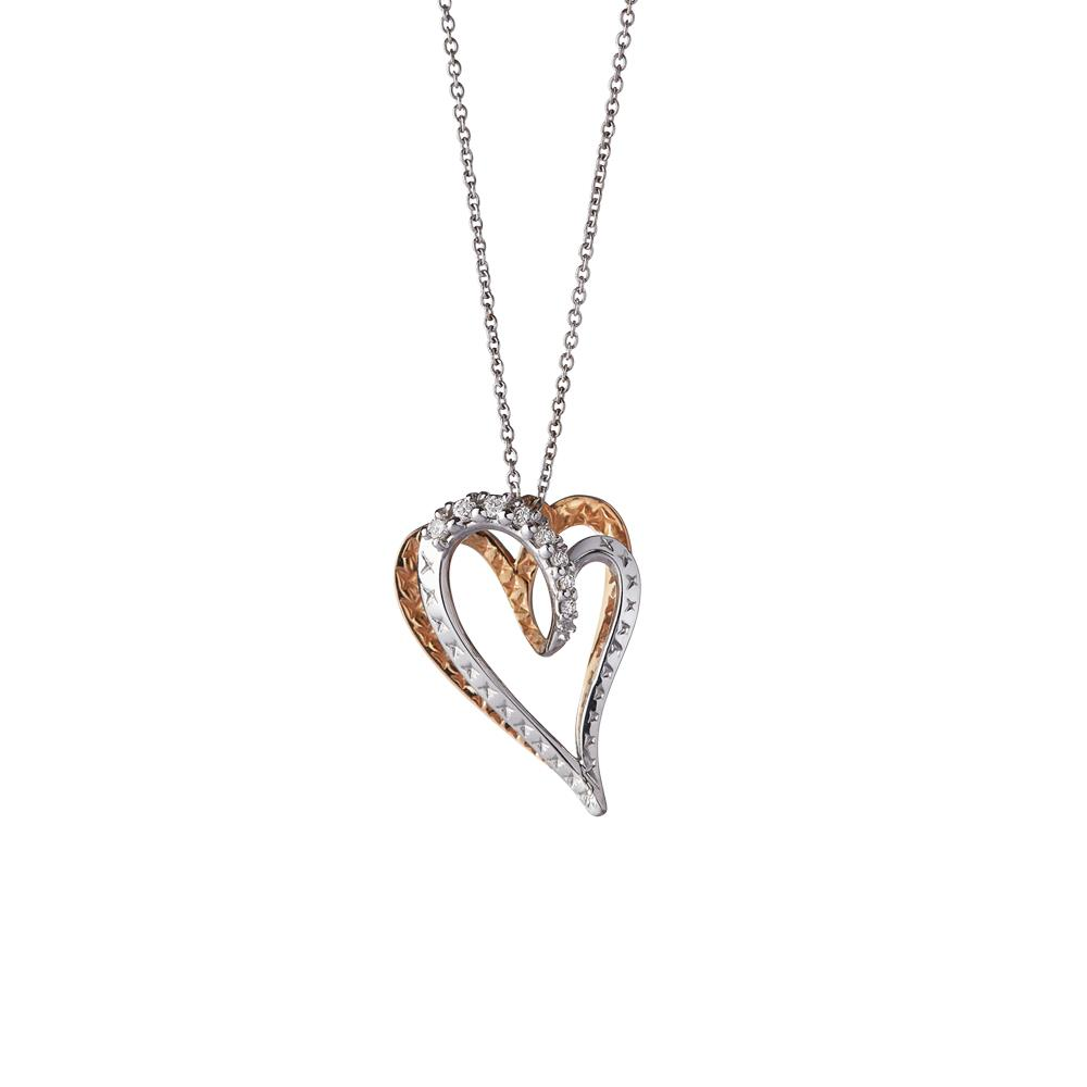 Small heart pendant in 18 kt white and rose gold with 0,06 ct diamonds  