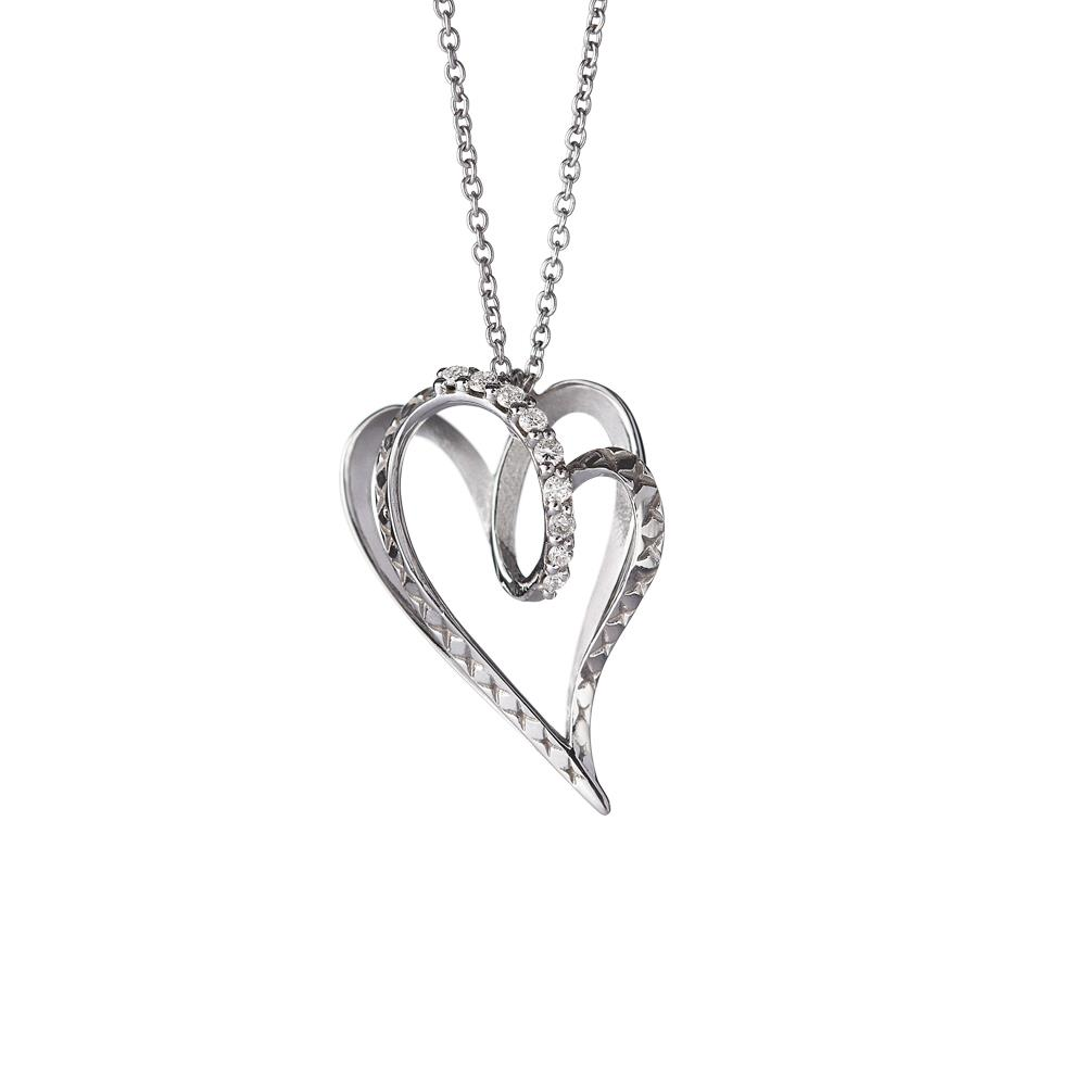 Medium heart pendant in 18 kt white gold with 0,08 ct diamonds 