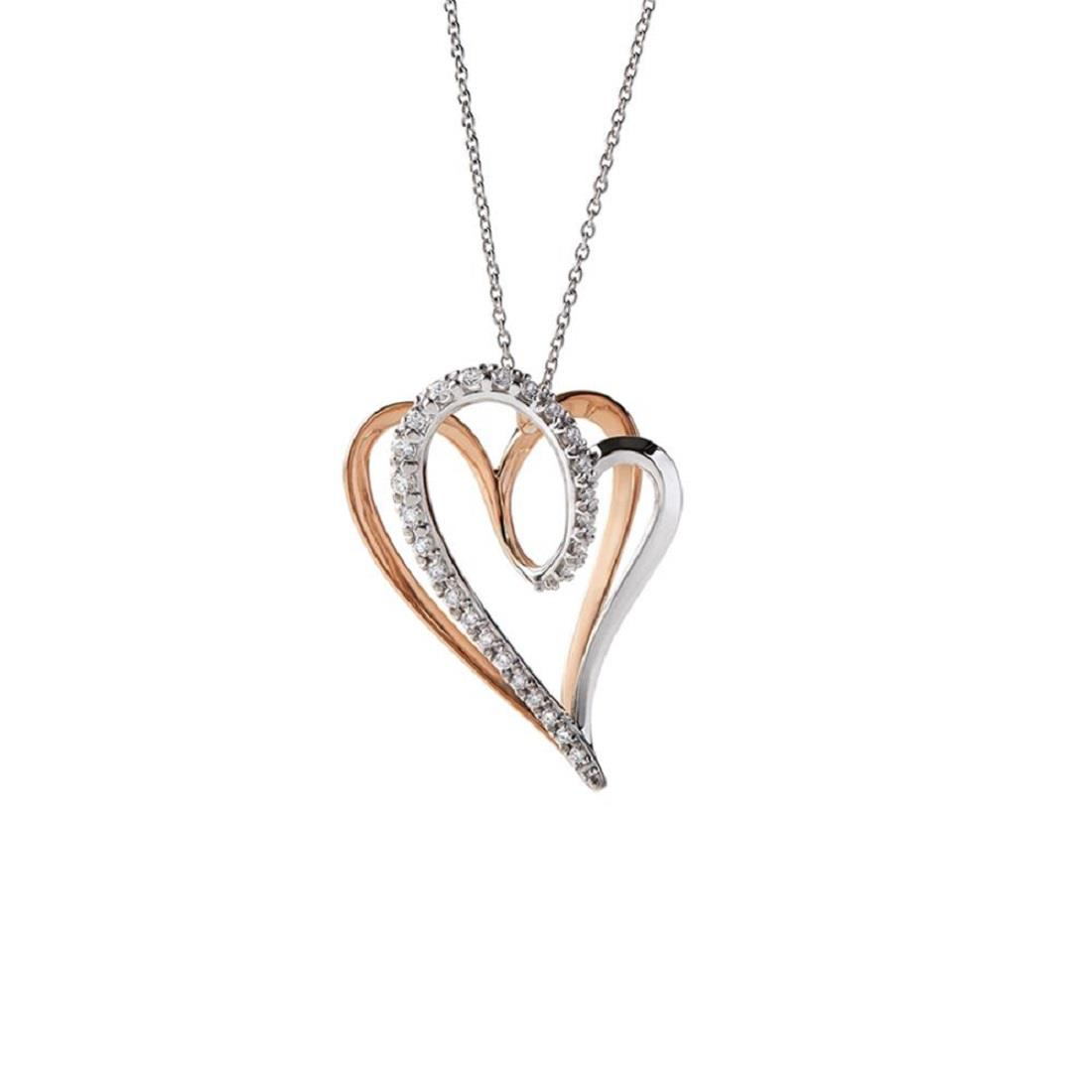 Big size heart pendant in 18 kt white and rose gold with 0,35 ct diamonds 