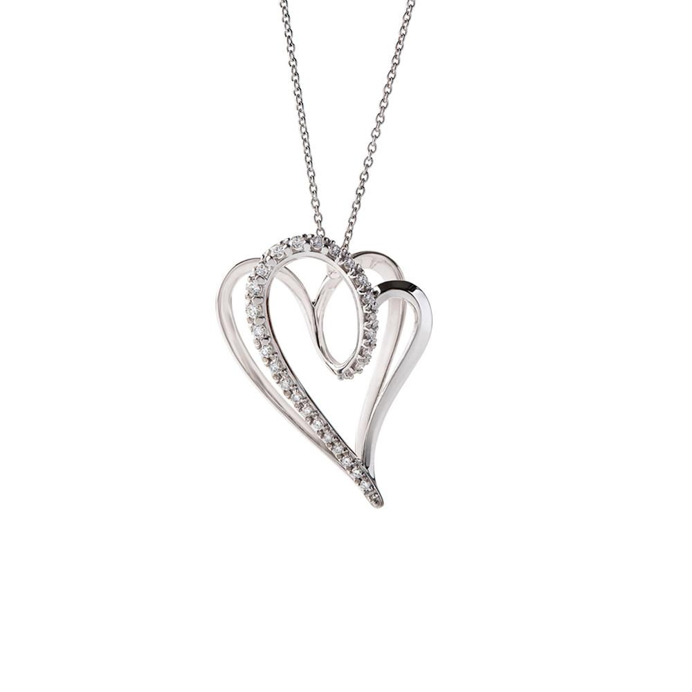 Big size heart pendant in 18 kt white gold with 0,35 ct diamonds 