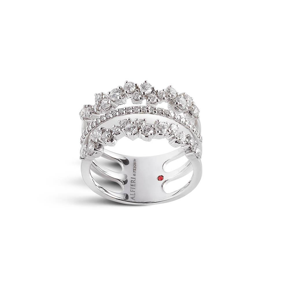 White gold three strands ring with 1,12 ct diamonds