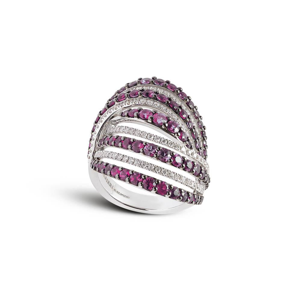 White gold ring with 0.53 ct diamonds and 3.08 ct rubies