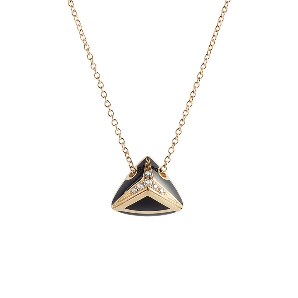 "Yellow gold ""A"" necklace with black enamel and 0,05 ct diamonds