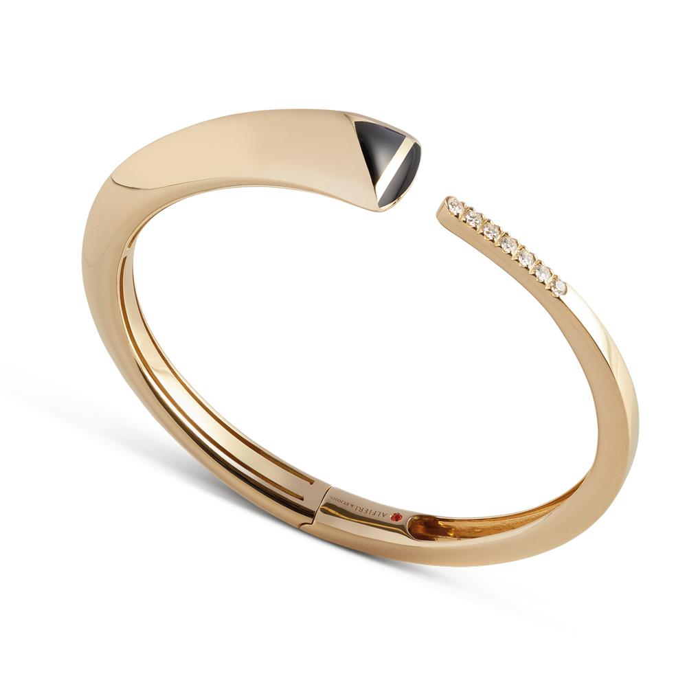 "Yellow gold ""A"" bracalet with black enamel and 0,24 ct diamonds