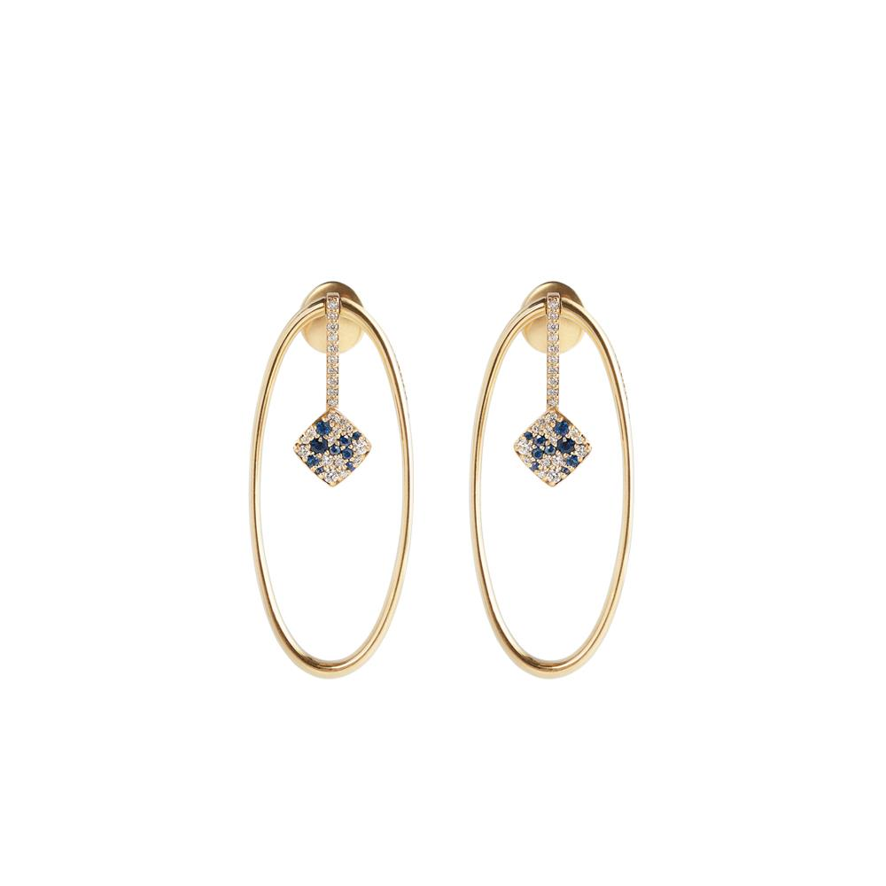Yellow gold oval shape earrings with 0,39 ct diamonds and 0,28 ct sapphires