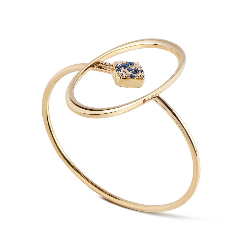 Yellow gold oval shape bracelet with 0.28 ct diamonds and 0,27 ct sapphires 