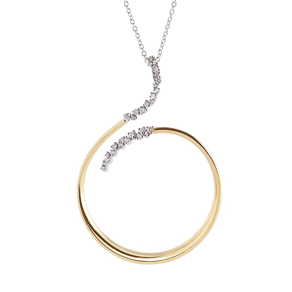 White gold chain and yellow gold pendant with 0,31 ct diamonds. 