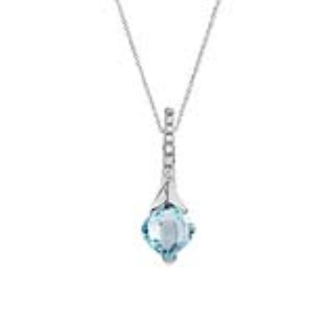 White gold pendant with 5.55 ct square briolette cut light blue topaz  and 0.10 ct diamonds 