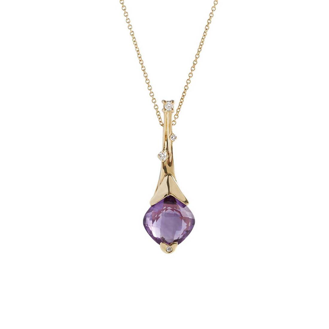 Yellow gold pendant with 3.80 ct square briolette cut amethyst and 0.07 ct diamonds - 42 cm lenght.