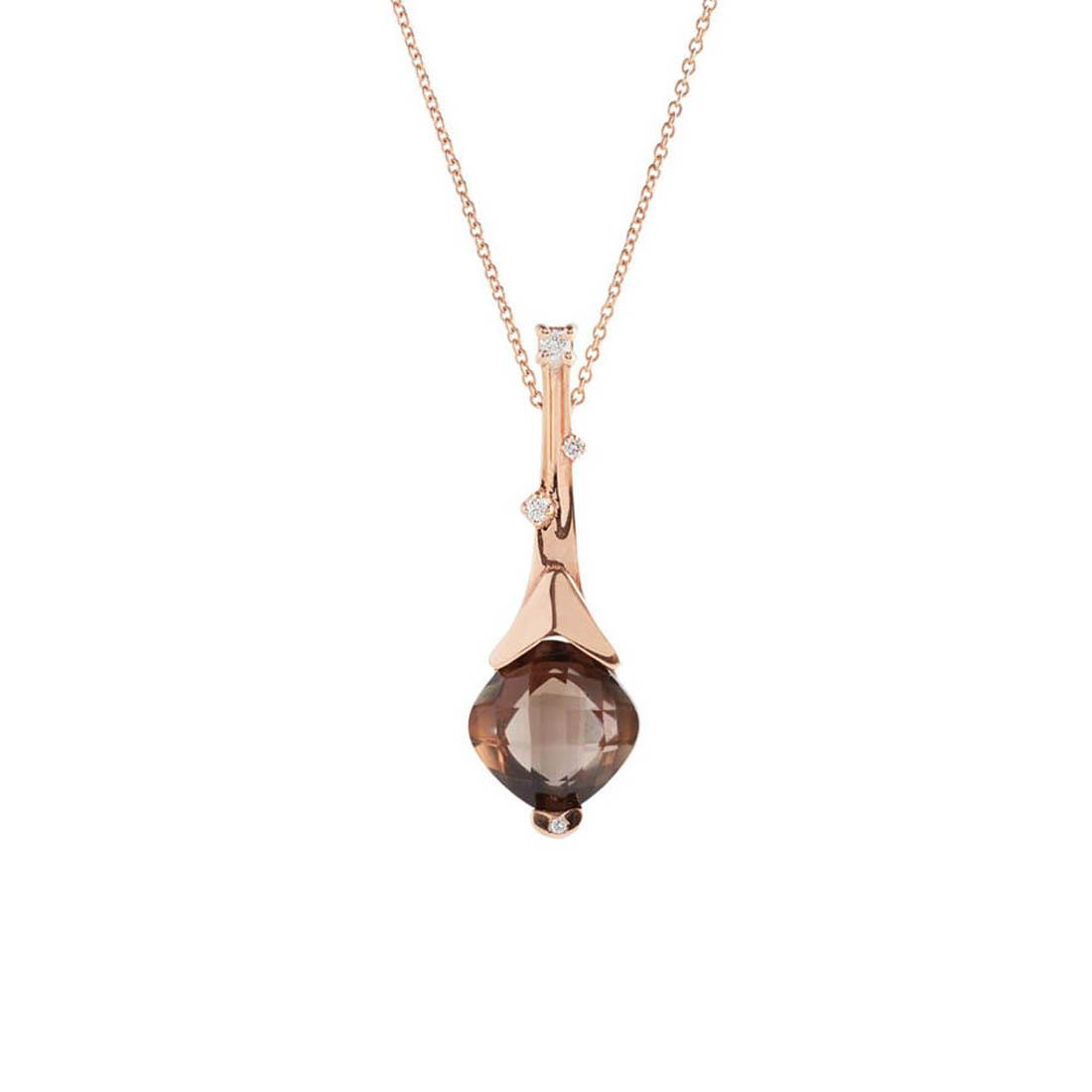 Rose gold pendant with 3.95 ct square briolette cut smoky quartz and 0.07 ct diamonds - 42 cm lenght. 