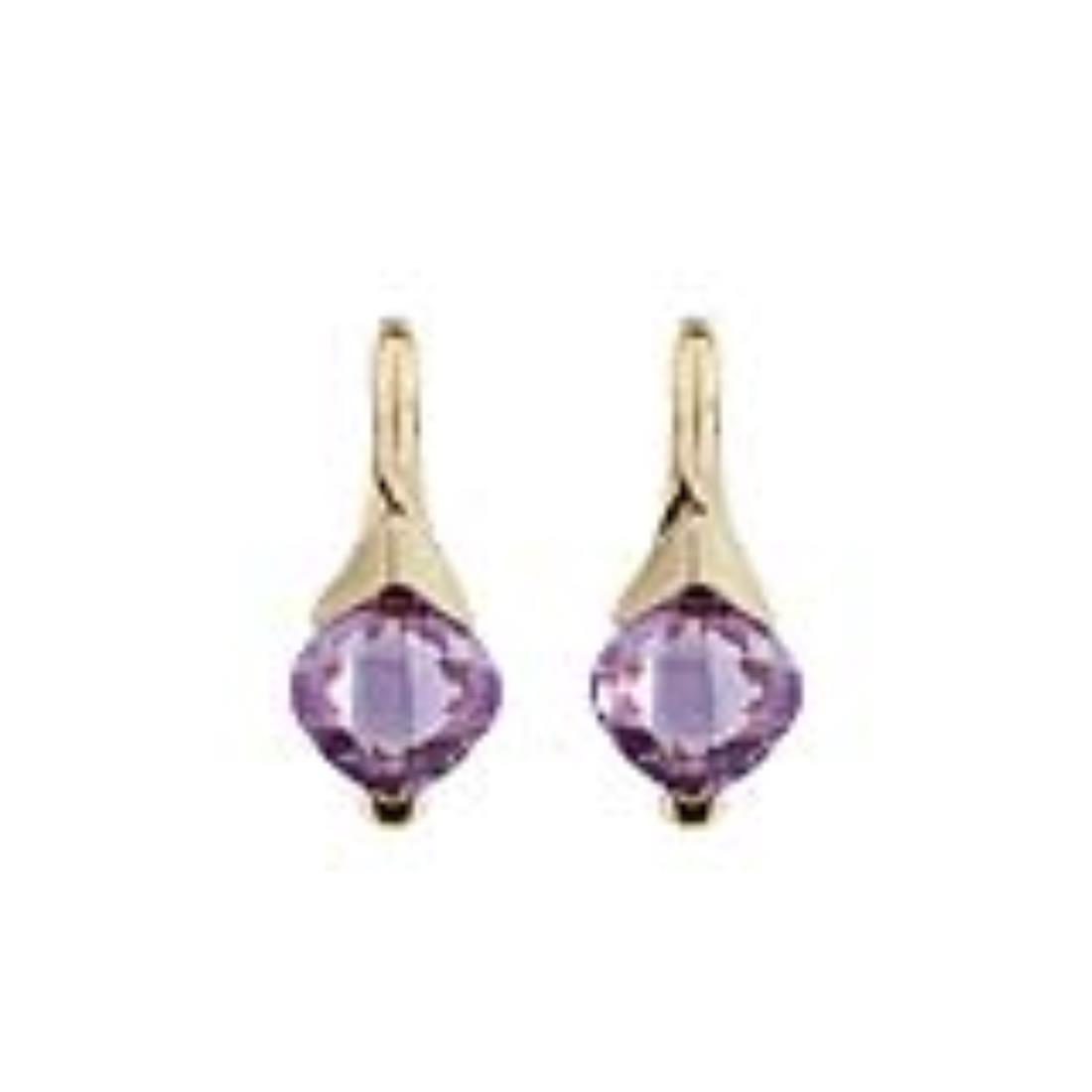 Yellow gold earrings with 4.50 ct square briolette cut amethyst. 