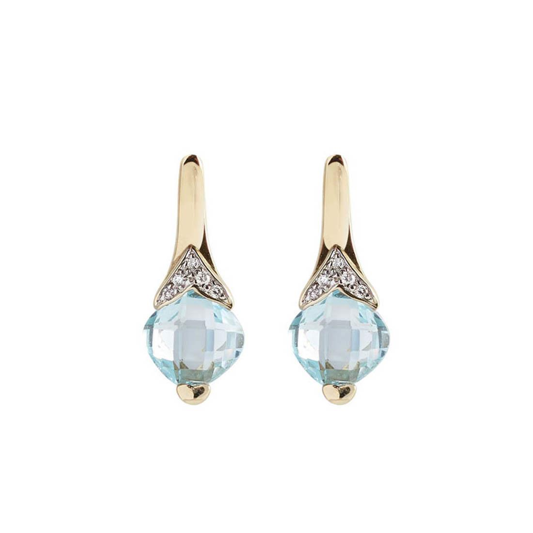 Yellow gold earrings with 6.00 ct square briolette cut light blue topaz and 0.07 ct diamonds.