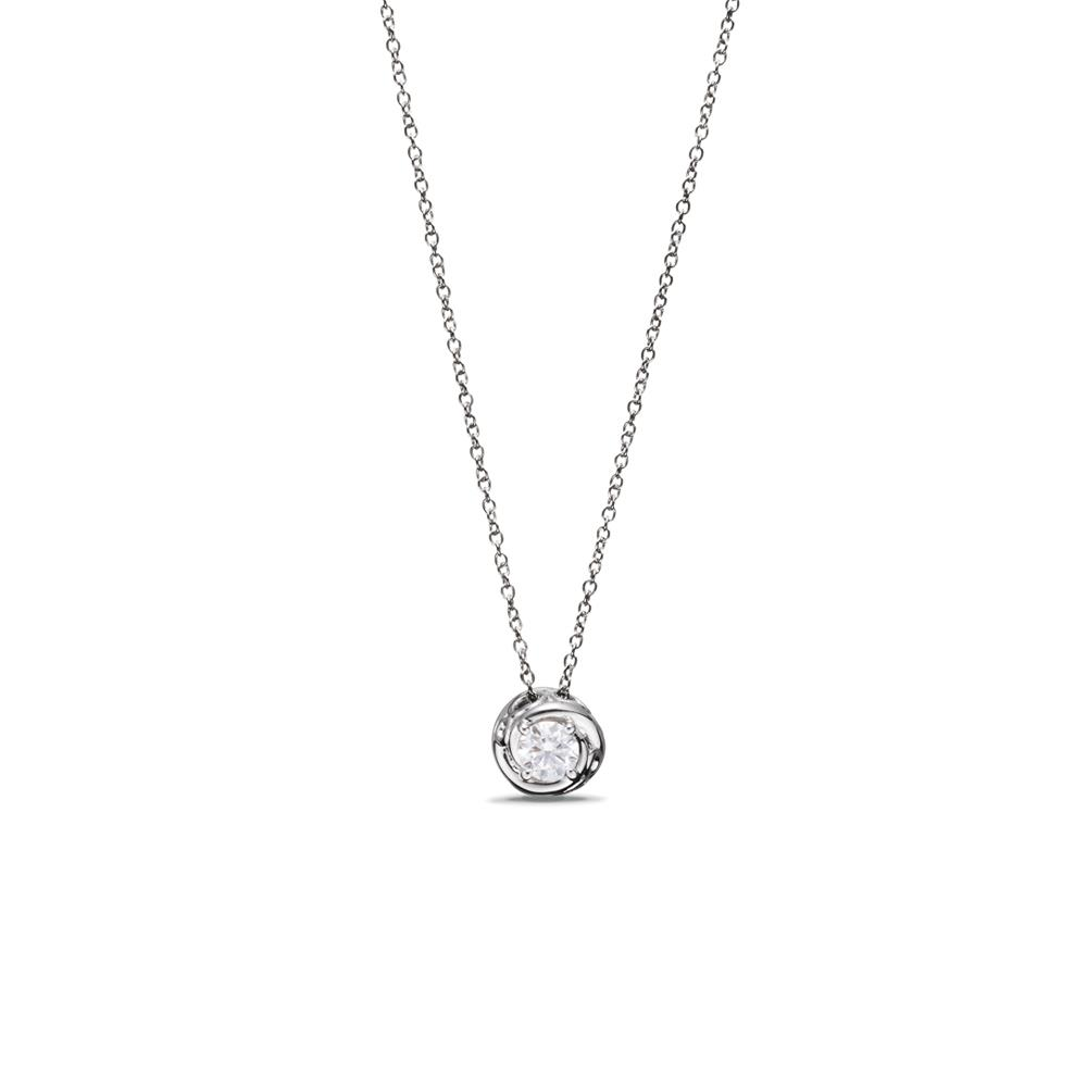Collier punto de luz en oro blanco con diamante ct 0,30 - longitud cadena: 42 cm Disponible en varios quilates.