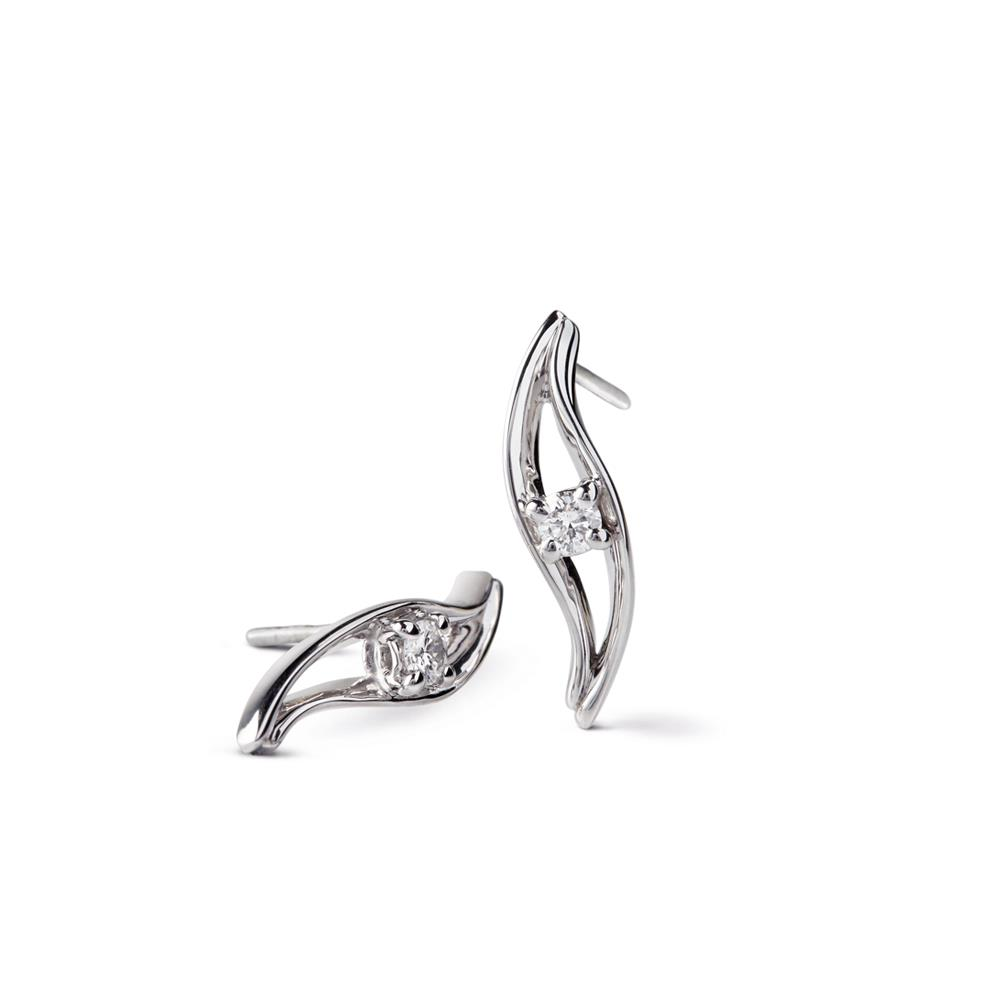 18 kt white gold earrings set with 0,26 ct diamonds