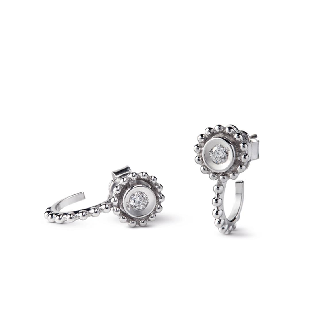 18 kt white gold earrings set with diamonds 0,14 ct