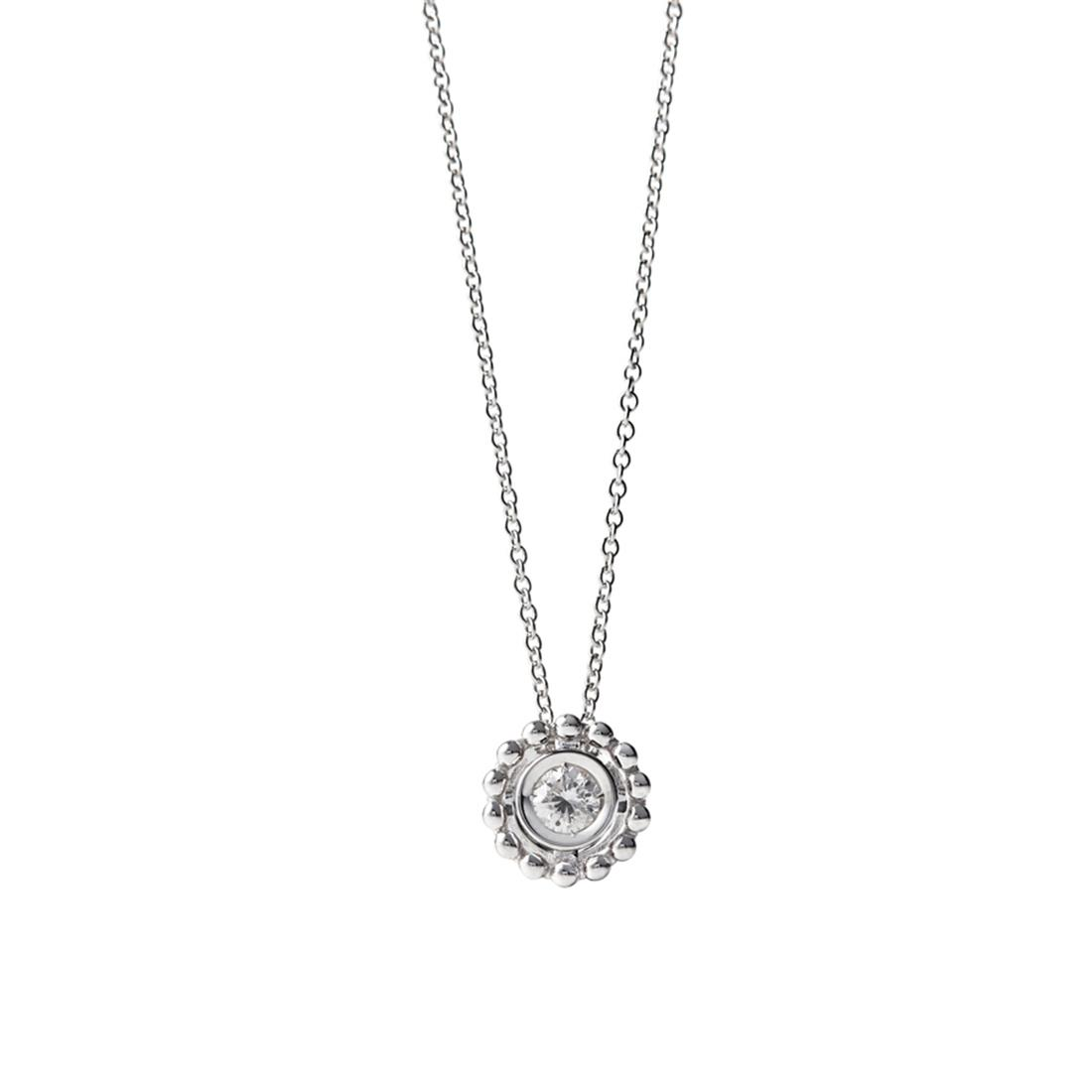 18 kt white gold necklace set with 0,12 ct diamond - Chain length: 42 cm