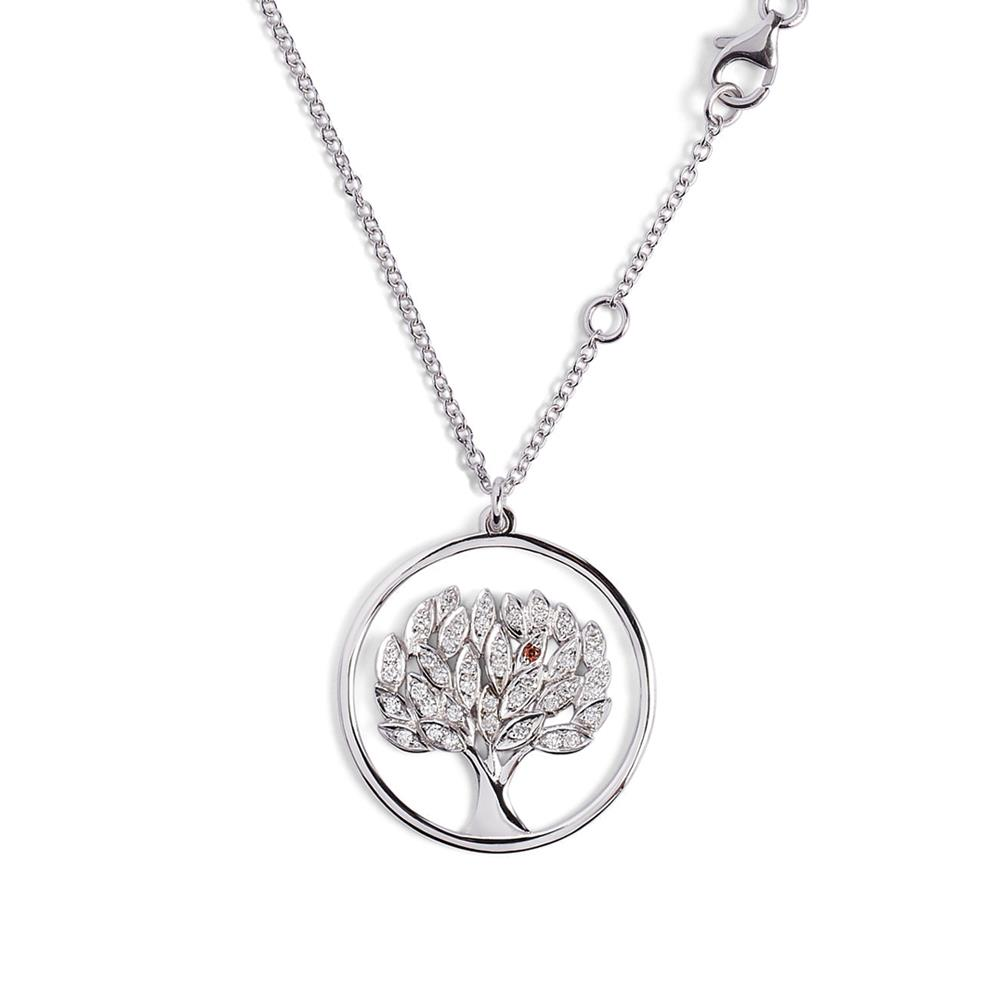 Life tree pendant in 18 kt white gold with 0,39 ct diamonds and orange sapphire