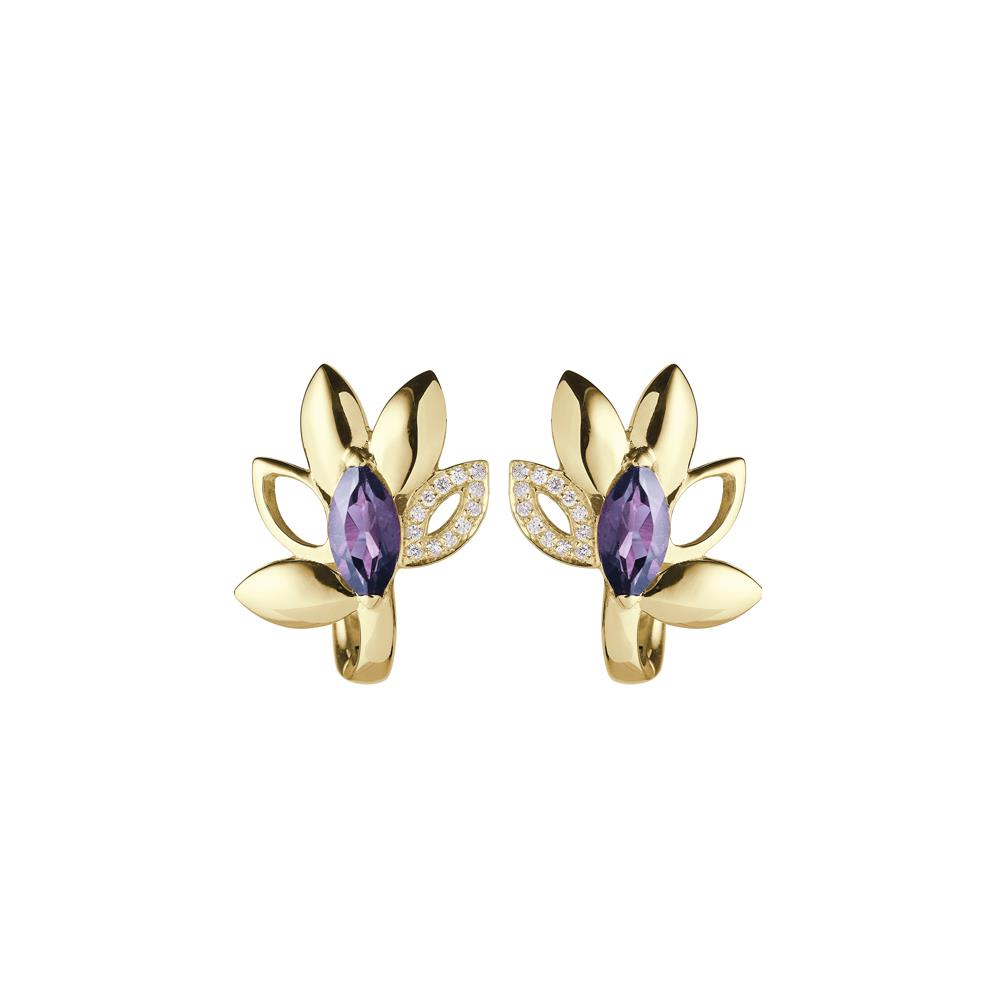 18 kt yellow gold earrings with amethyst navette cut and 0,07 ct diamonds