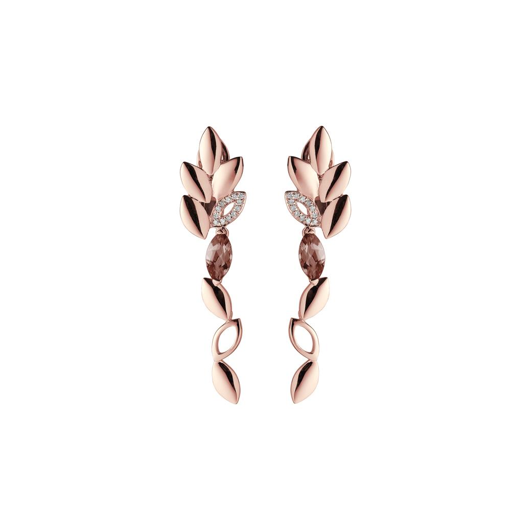 18 kt rose gold earrings with navette cut smoky quartz and 0,07 ct diamonds