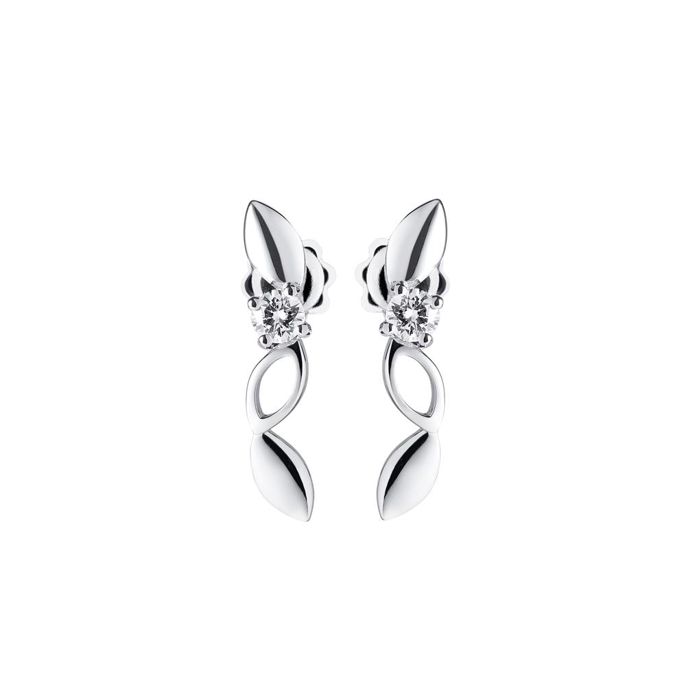 18 kt white gold anniversary earrings with 0,30 ct diamonds