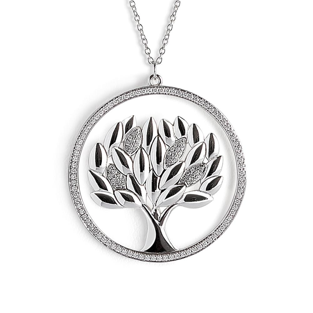 18 kt white gold life tree pendant with 1,48 ct diamond frame and leaves big size - Chain length: 42 cm