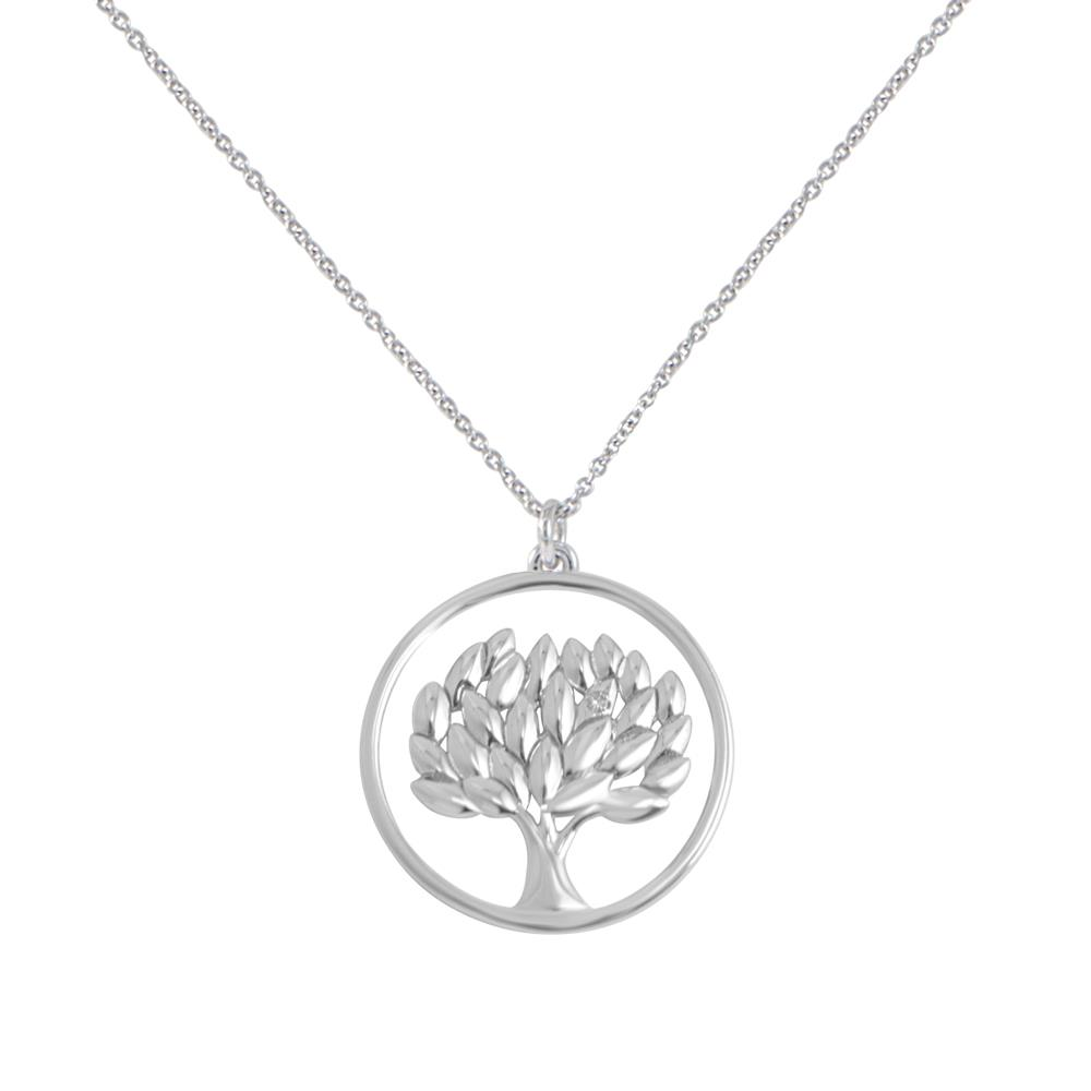 18 kt white gold life tree pendant with 0.01 diamond