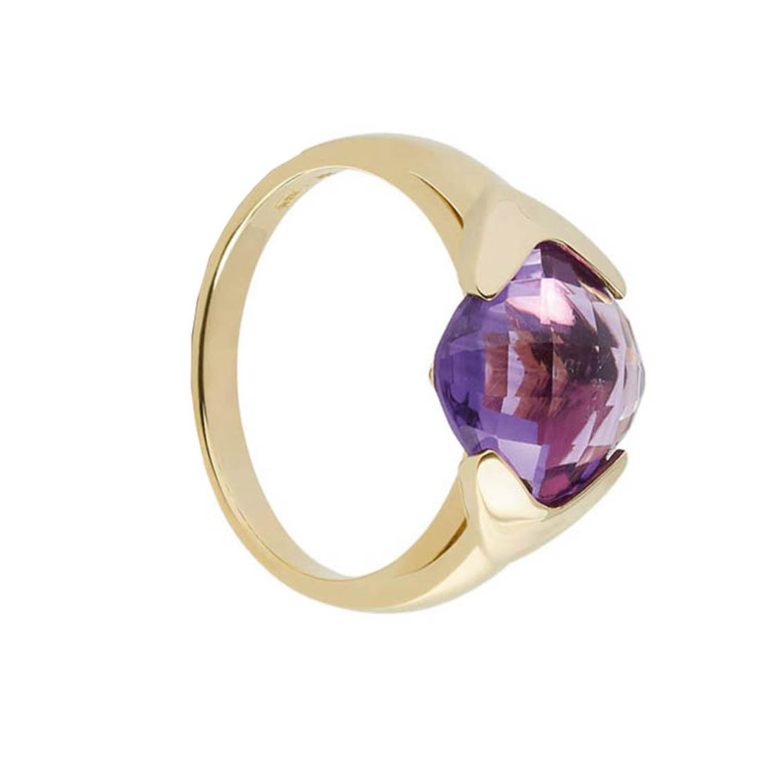 Yellow gold ring with 3.80 ct square briolette amethyst. 