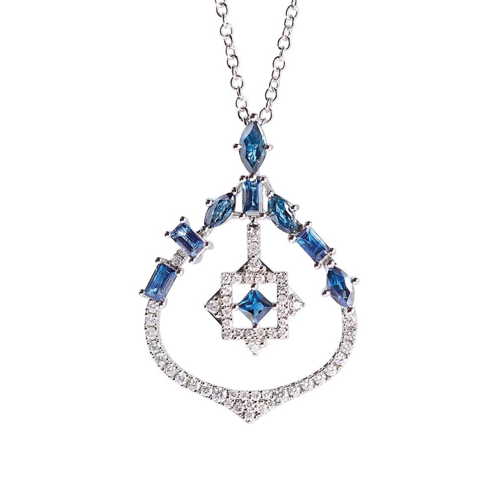 18 kt white gold pendant with 1,83 ct precious stones and 0,42 ct diamonds - Chain length: 50 cm