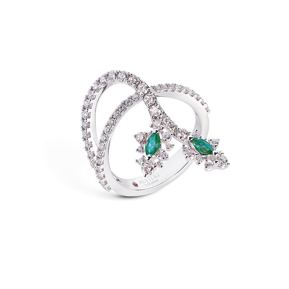 18 kt white gold ring with 0,27 ct navette cut precious stones and 0,91 ct diamonds