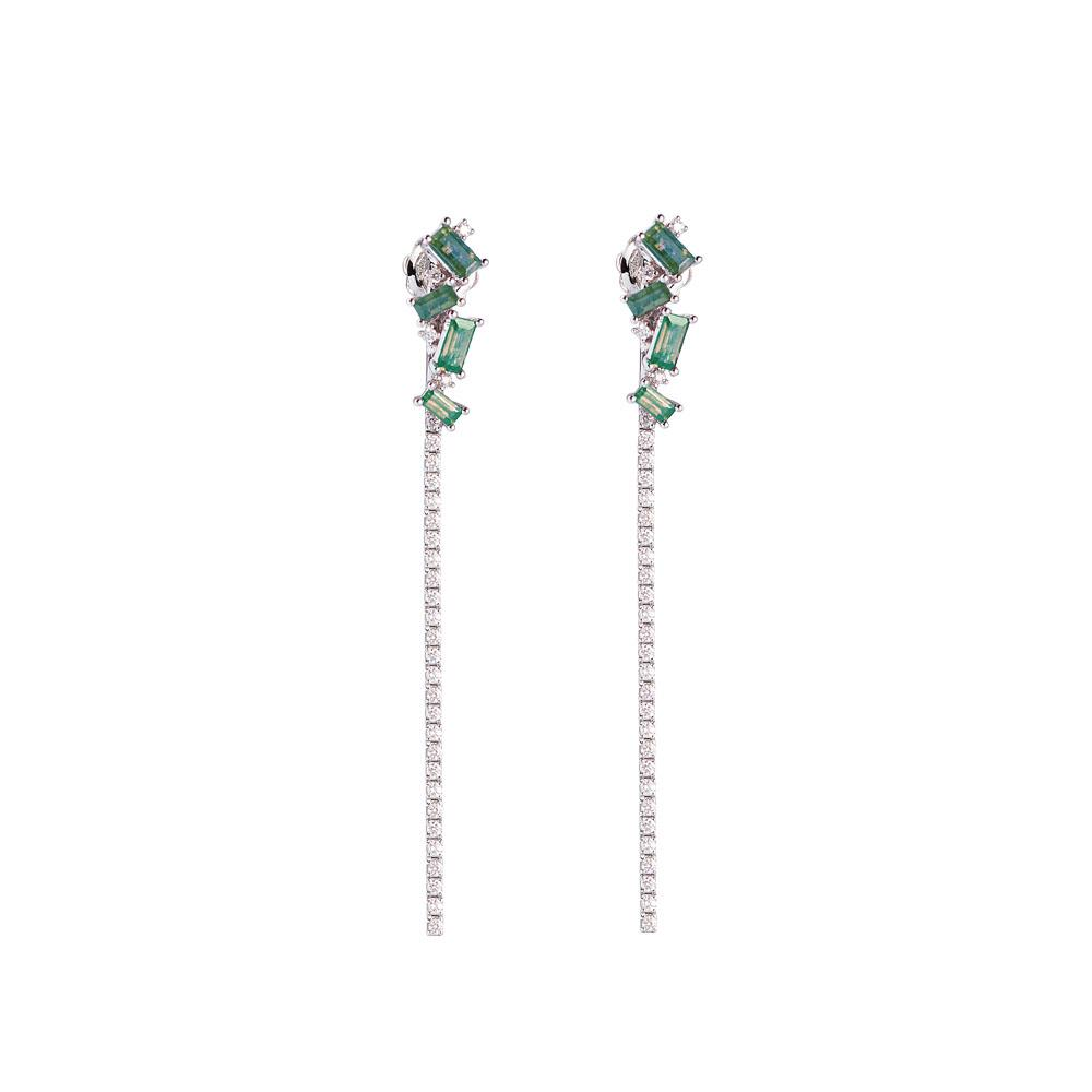 18 kt white gold earrings with 1,66 ct baguette cut precious stones and 0,64 ct diamonds - Length 6,4 cm