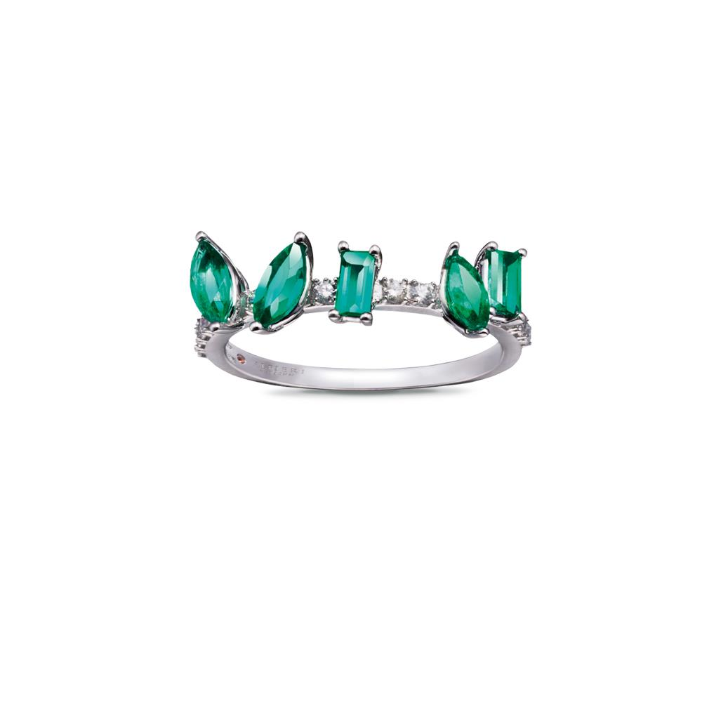 White gold ring with 0,78 baguette and navette cut emeralds and 0,17 diamonds