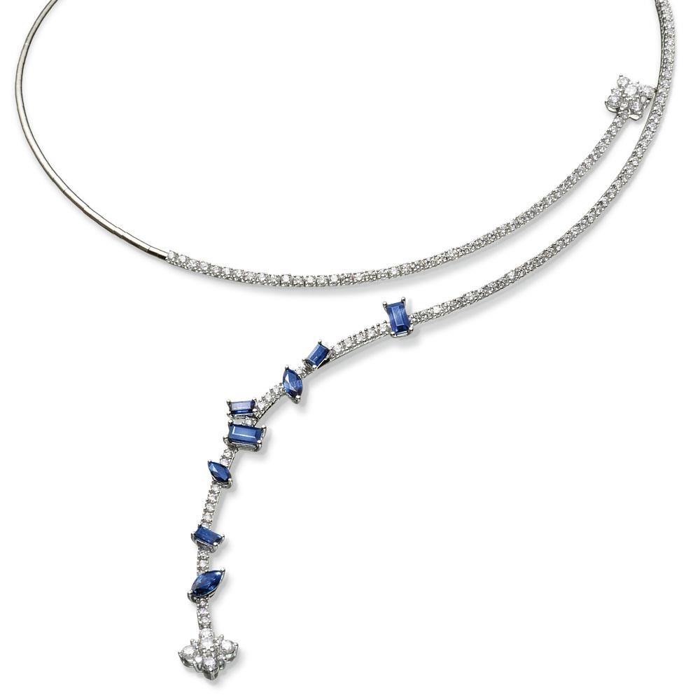 White gold necklace with 2,30 ct navette and baguette cut sapphires and 3,06 ct diamonds