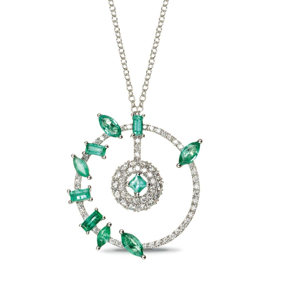 White gold necklace with 1,69 navette baguette and princess cut emeralds and 0,71 ct diamonds. - Chain length: 90 cm