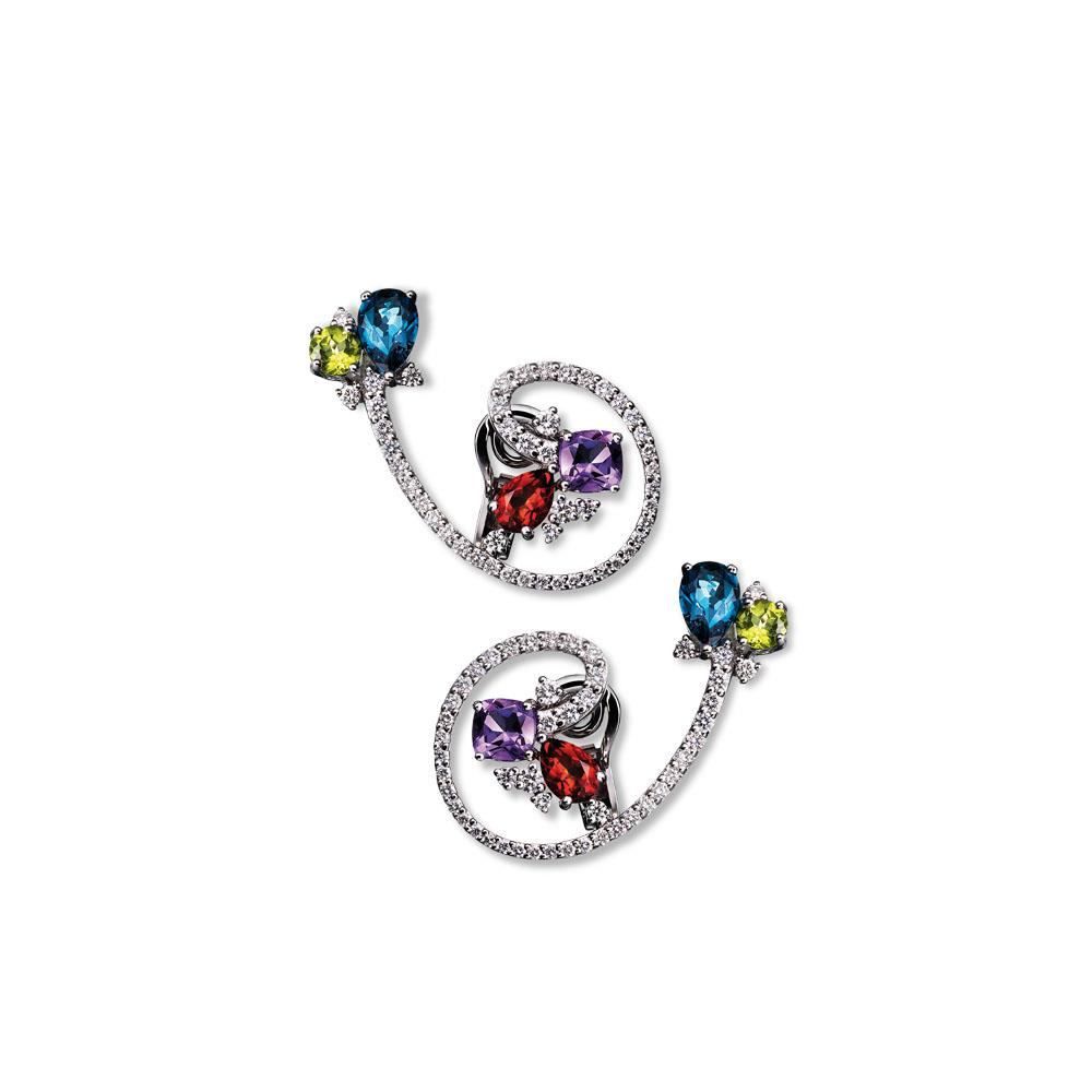 Twisting 18 kt white gold earrings with antique-cut amethyst, drop-cut madera quartz, round-cut peridot and drop-cut london topaz and 2,30 ct diamonds