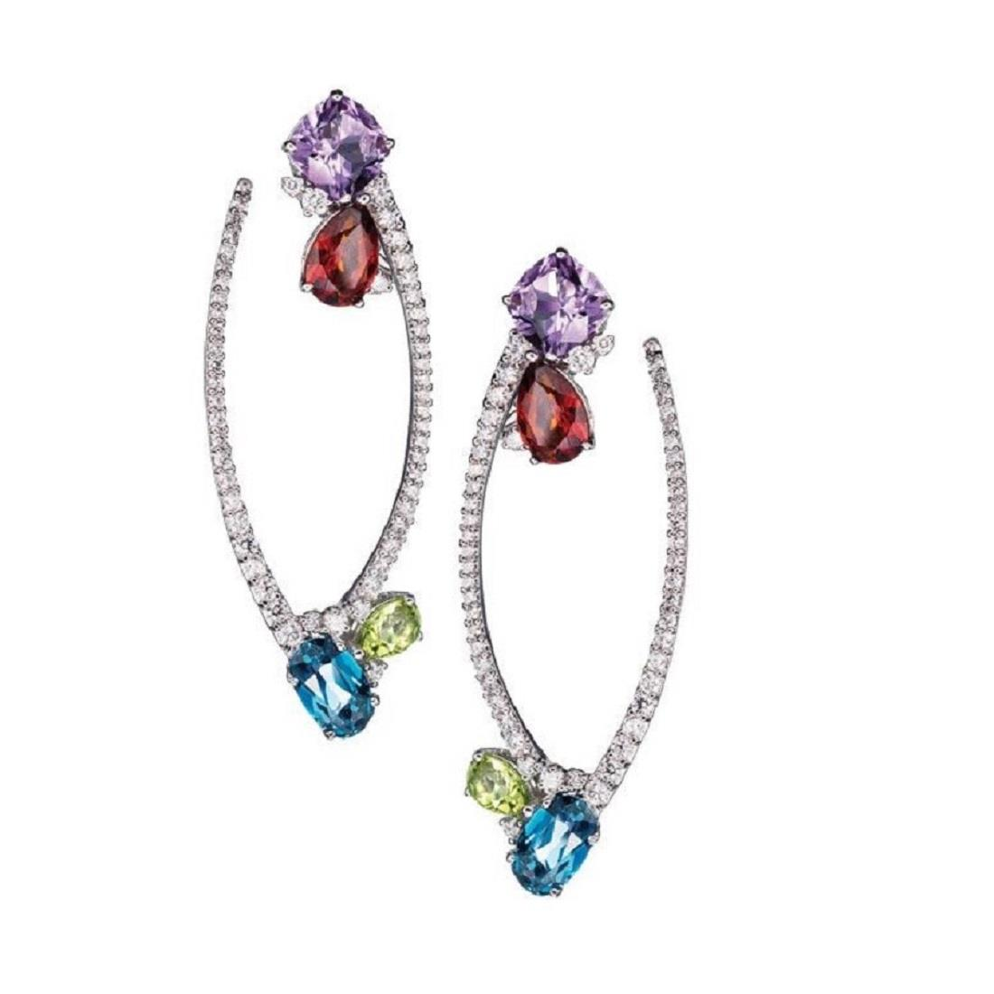 18 kt white gold long earrings with antique cut amethyst, dropcut madera quartz, drop-cut peridot and oval-cut london topaz with 2,51 ct diamonds