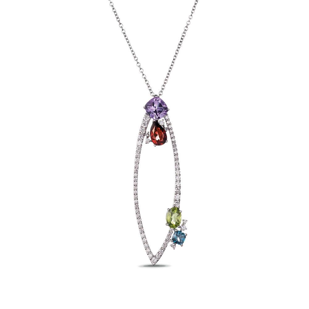 18 kt white gold pendant with antique-cut amethyst, drop-cut madera quartz, antique-cut london topaz oval-cut peridot and 1,75 ct diamonds - Chain length: 90 cm