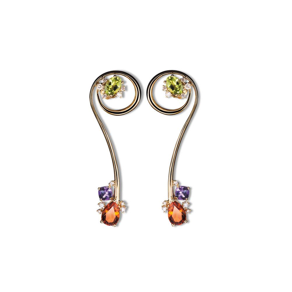18 kt yellow gold cccearrings with drop-cut madera quartz, antique-cut amethyst, oval-cut peridot and 0,43 ct diamonds