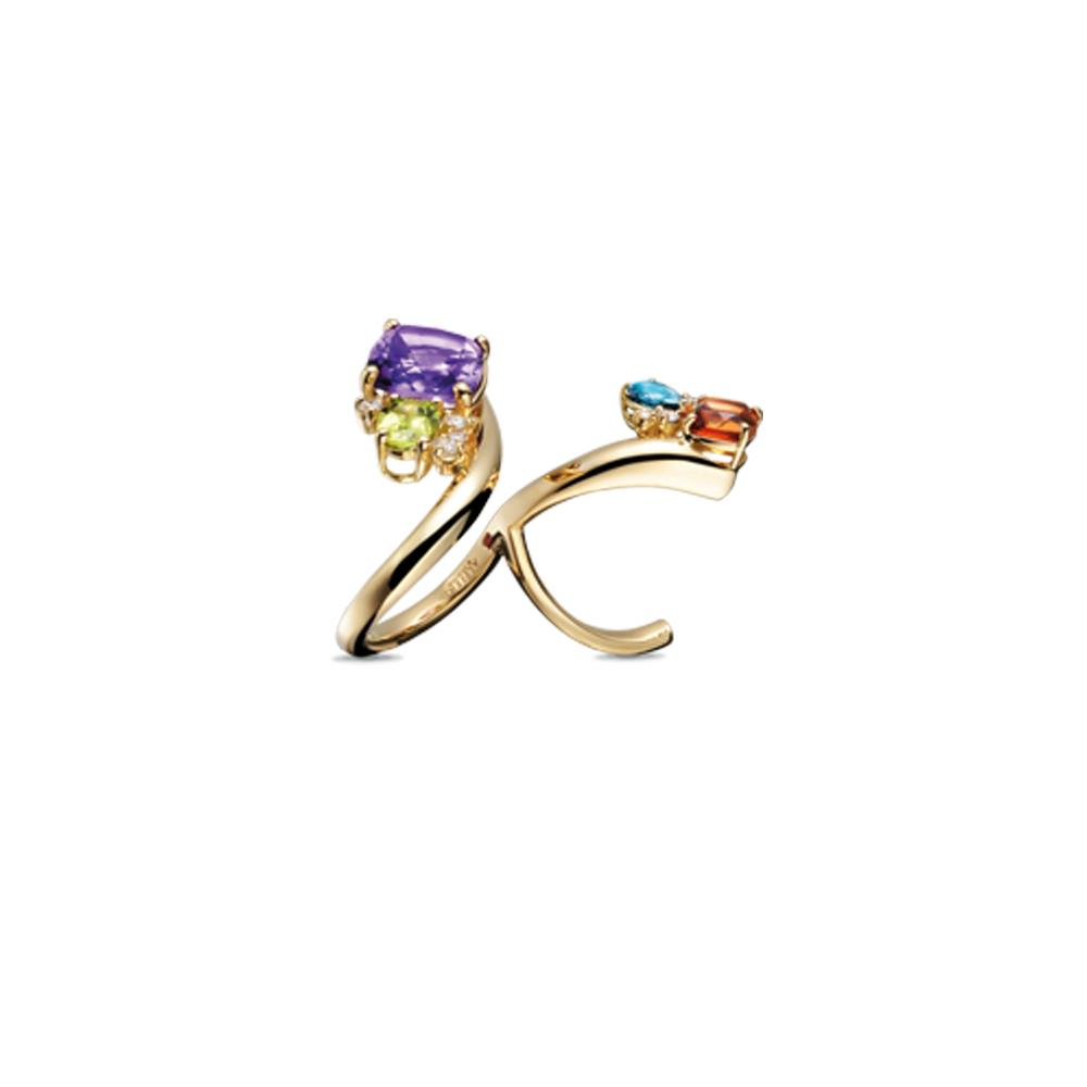 Twisting 18 kt yellow gold double ring with antique cut madera quartz and amethyst, drop cut london topaz and peridot, and 0,27 ct diamonds