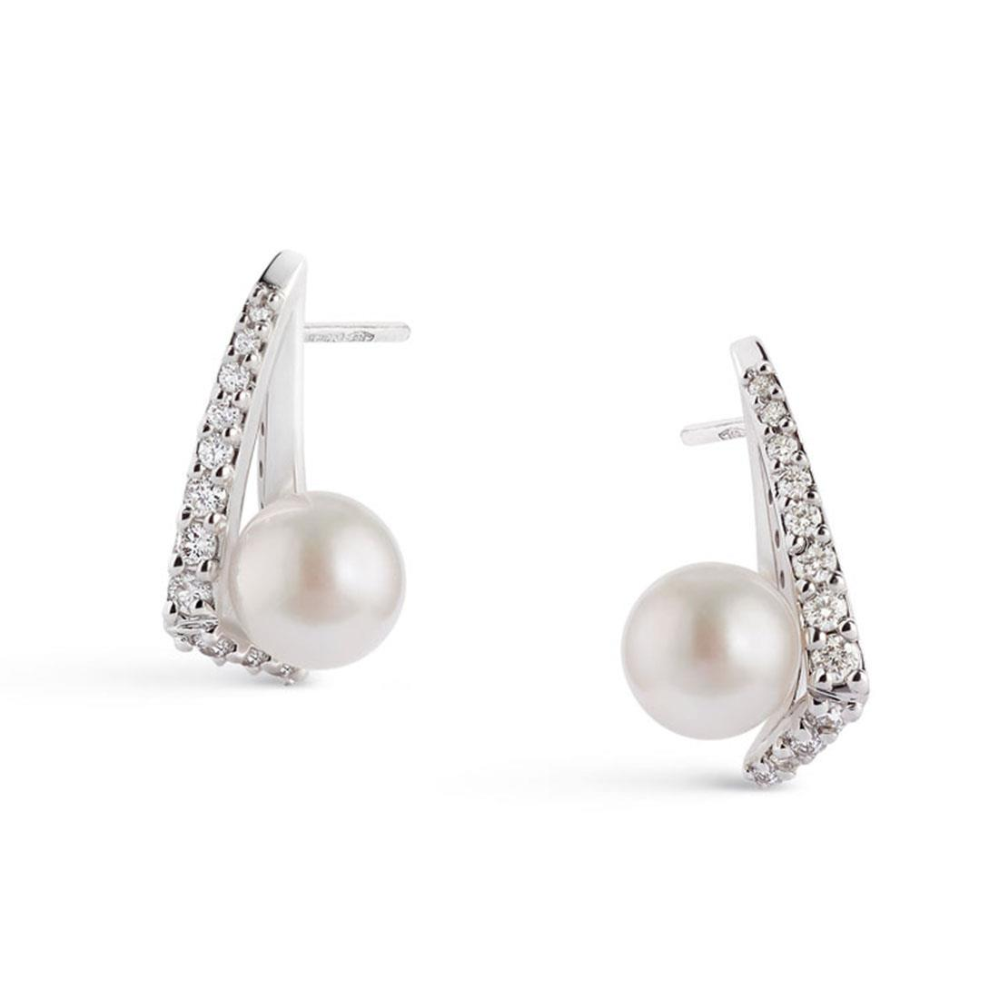 18 kt white gold earrings with 7,5/8 mm Akoya pearls and 0,41 diamonds