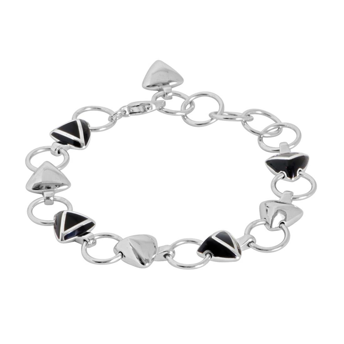 Sterling silver BRACELET with black enamel, 20 cm lenght